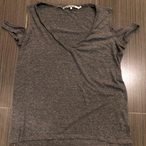 Pam & Gela cold shoulder t shirt in heather grey